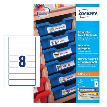 E3214 Removable Tray Labels